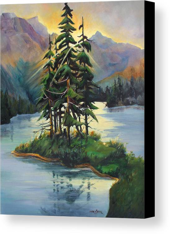 Landscape Canvas Print featuring the painting Ghost Island Near Jasper by Marta Styk