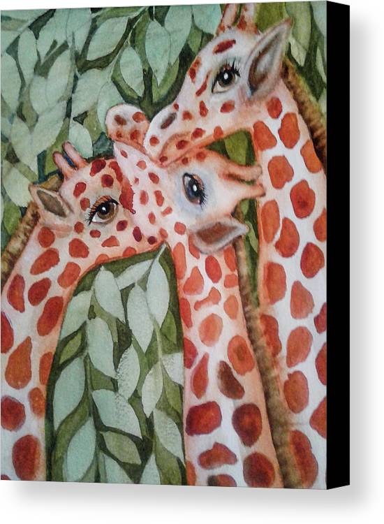 Painting Canvas Print featuring the painting Giraffe Trio By Christine Lites by Allen Sheffield