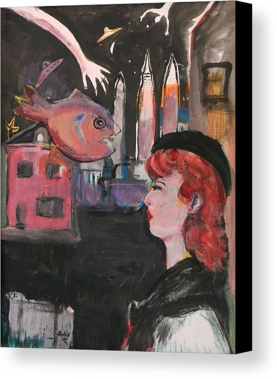 Pinup Canvas Print featuring the painting Girl With The Black Beret by Gerard Paradisi