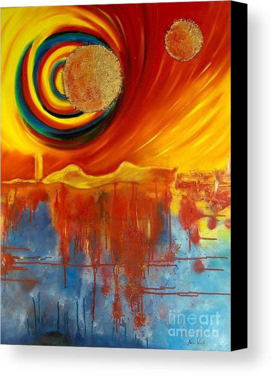 Surreal Canvas Print featuring the painting Golden Dreams by Nela Vicente