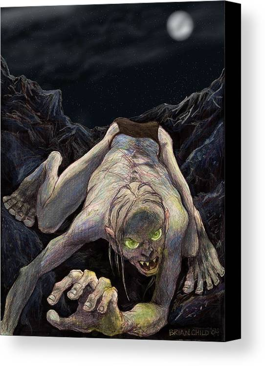 Lord Of The Rings Canvas Print featuring the mixed media Gollum Descends by Brian Child