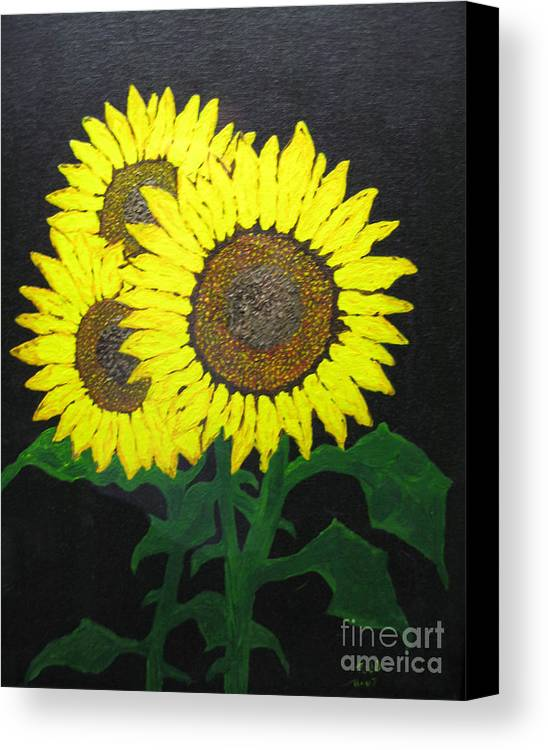 Sunflowers Canvas Print featuring the painting Grandmas Sunflowers by Todd Androy