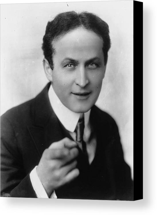 Hollywood Stars Celebrity Canvas Print featuring the photograph Harry Houdini Magician by Peter Nowell