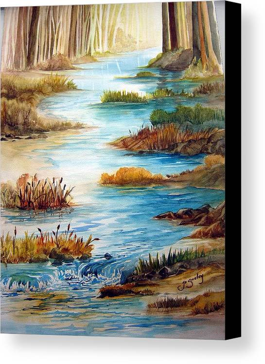 Heavens Gift Water Trees Landscape Canvas Print featuring the painting Heavens Gift by Joanne Smoley