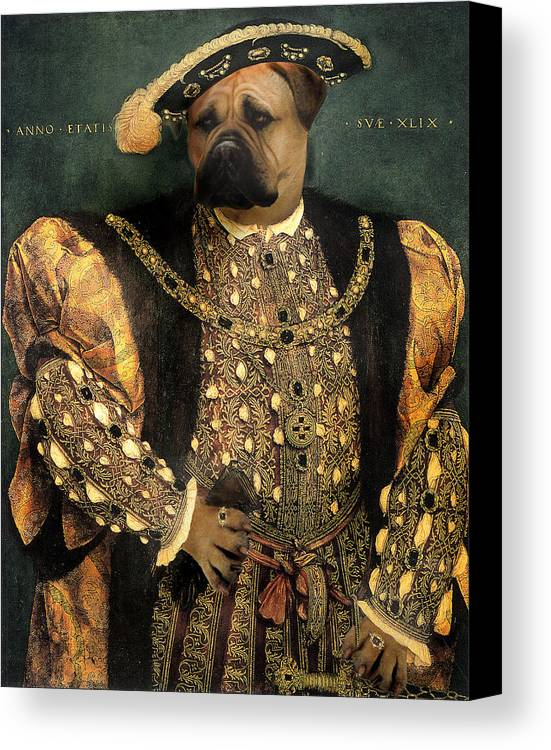 Mastiff Canvas Print featuring the digital art Henry Viii As A Mastiff by Galen Hazelhofer
