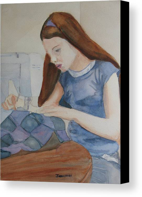 Girl Canvas Print featuring the painting Her First Quilt by Jenny Armitage
