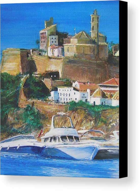 Original Landscape Painting Canvas Print featuring the painting Ibiza Town by Lizzy Forrester