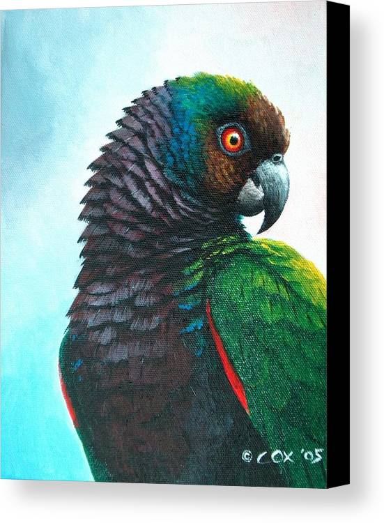 Chris Cox Canvas Print featuring the painting Imperial Parrot by Christopher Cox