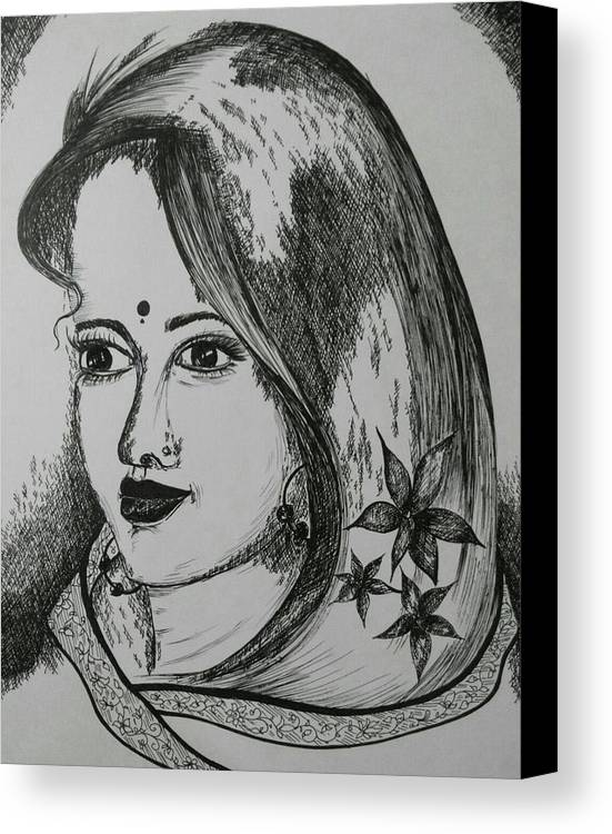 Women Canvas Print featuring the drawing Indian Beauty by Pushpa Sharma