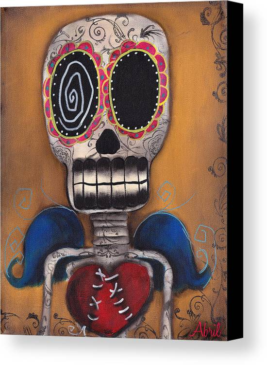 Day Of The Dead Canvas Print featuring the painting Javier by Abril Andrade Griffith