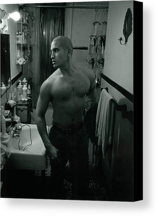Portrait Canvas Print featuring the photograph Jesse After Shaving His Head by Rusty Walton