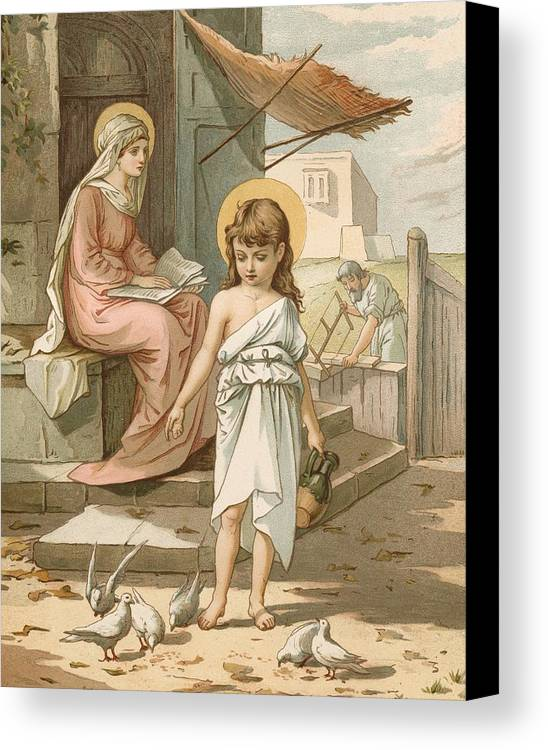 Bible; Jesus; Child; Boy; Playing; Doves; Birds; Joseph; Work; Carpenter; Carpentry; Virgin Mary; Reading; Yard; Feeding; Sentimental; Sentimentality Canvas Print featuring the painting Jesus As A Boy Playing With Doves by John Lawson