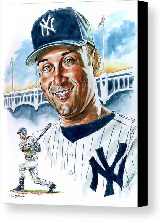 Jeter Canvas Print featuring the painting Jeter by Tom Hedderich