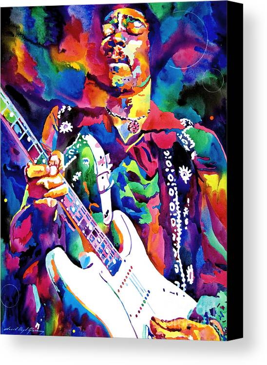 Jimi Hendrix Canvas Print featuring the painting Jimi Hendrix Purple by David Lloyd Glover