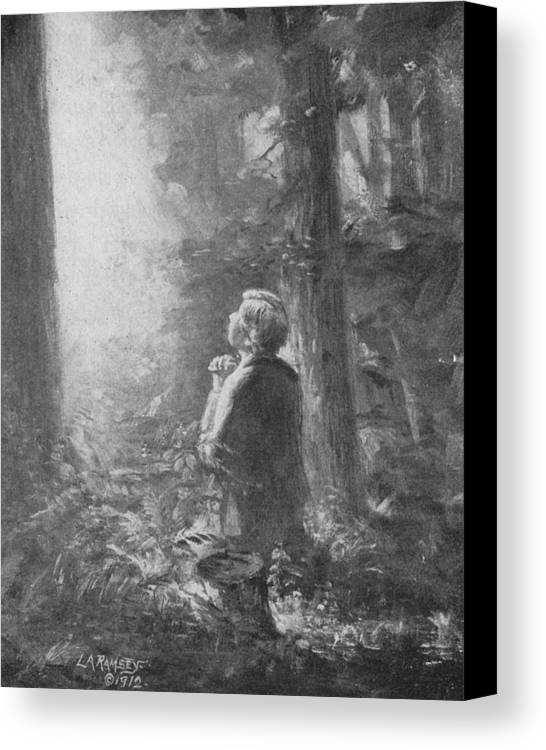 First Vision Canvas Print featuring the painting Joseph Smith Praying In The Grove by Lewis A Ramsey