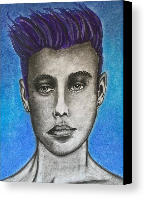 Portrait Canvas Print featuring the mixed media Justin Bieber-daydreaming by Shawn Brandon
