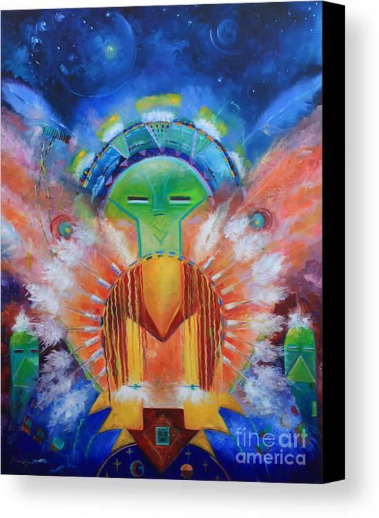 Native American Canvas Print featuring the painting Kachina Spirit by Gail Salitui