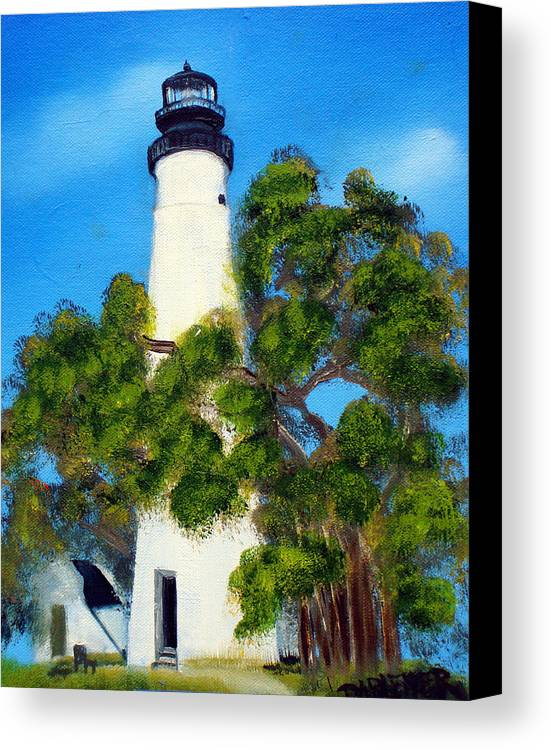 Lighthouse Canvas Print featuring the painting Key West Lighthouse by Darlene Green