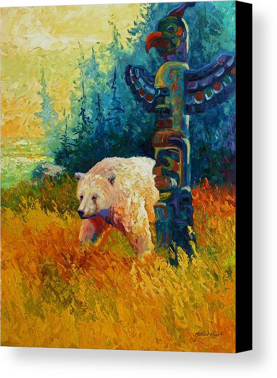 Western Canvas Print featuring the painting Kindred Spirits - Kermode Spirit Bear by Marion Rose