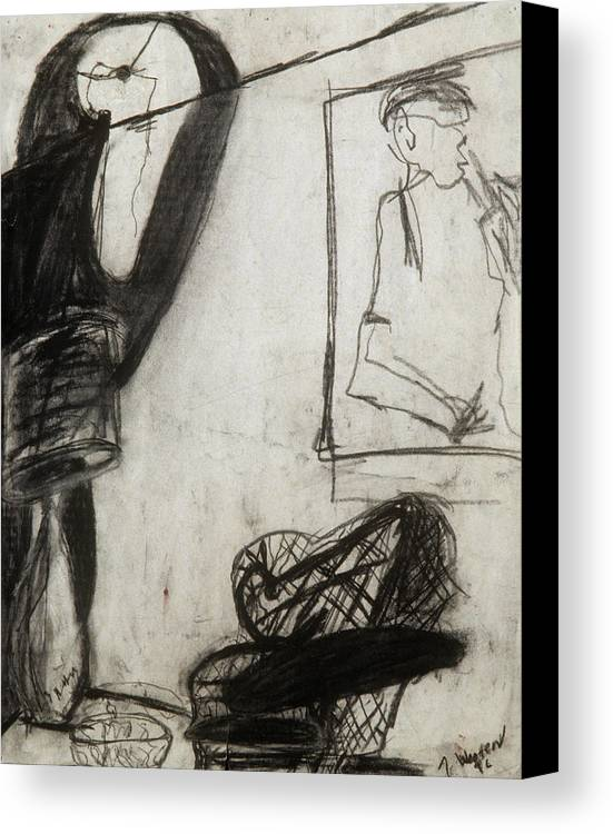 Charcoal Canvas Print featuring the drawing Lampshade Drama by Jamie Wooten