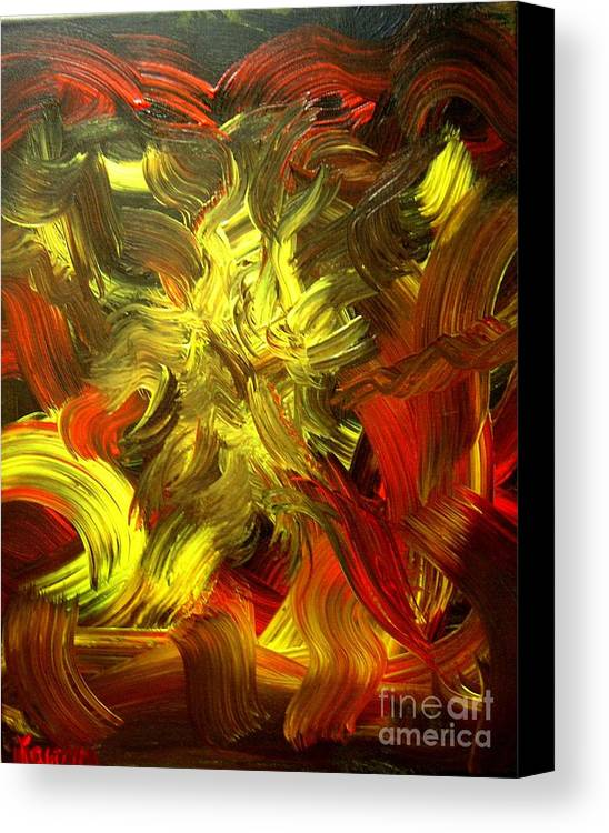 Abstract Canvas Print featuring the painting Laughing Lion by Karen L Christophersen