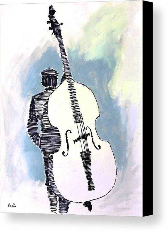 Cello Canvas Print featuring the painting Lib-602 by Artist Singh