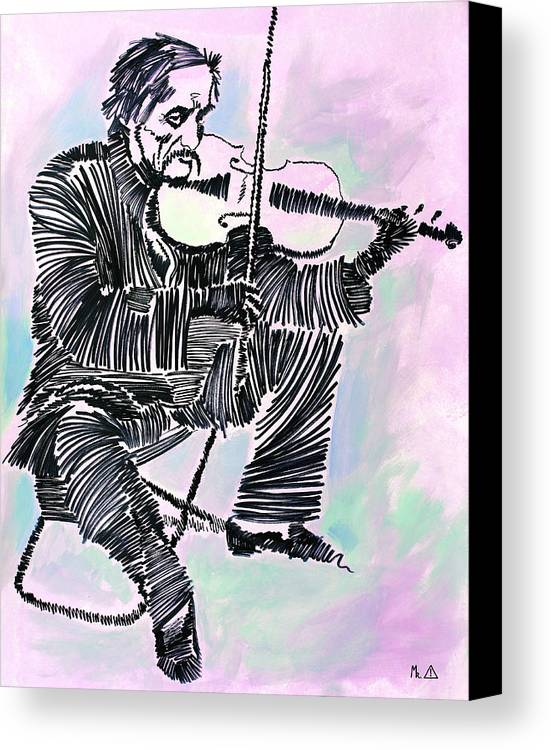 Violinist Canvas Print featuring the painting Lib-604 by Artist Singh