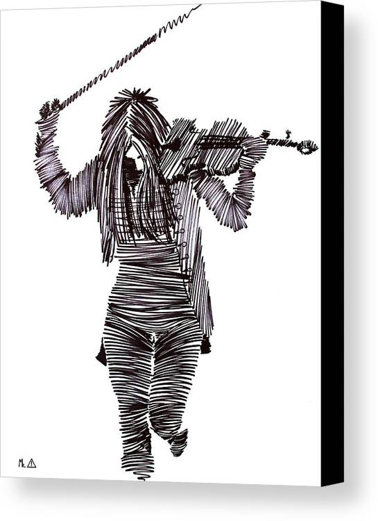 Violinist Canvas Print featuring the painting Lib-605 by Artist Singh