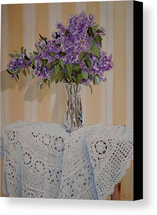Original Watercolour Of Lilacs And Lace Canvas Print featuring the painting Lilacs And Lace by Sharon Steinhaus