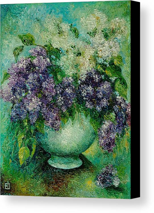 Flowers Canvas Print featuring the painting Lilacs No 4. by Evgenia Davidov