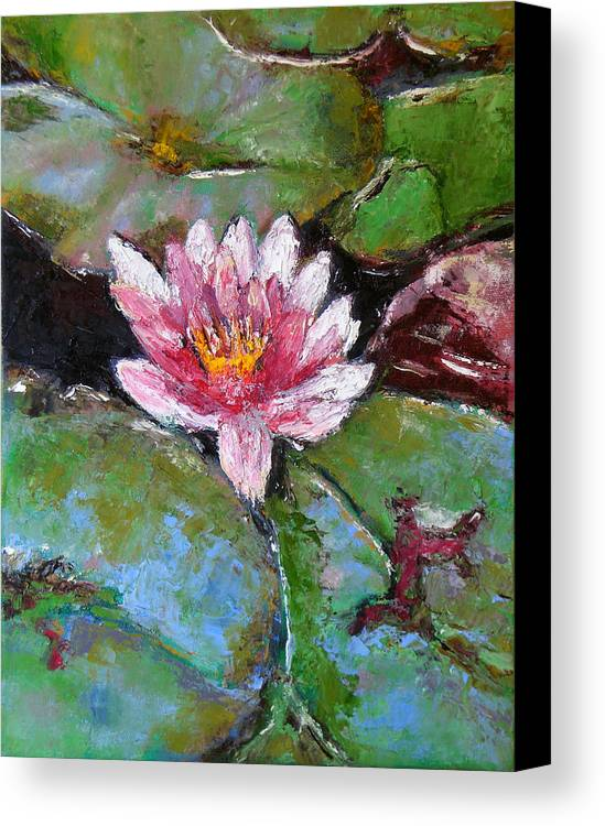 Knife Canvas Print featuring the painting Lotus Of The Pond by Lou Ewers