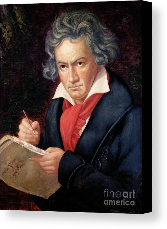 Ludwig Canvas Print featuring the painting Ludwig Van Beethoven Composing His Missa Solemnis by Joseph Carl Stieler
