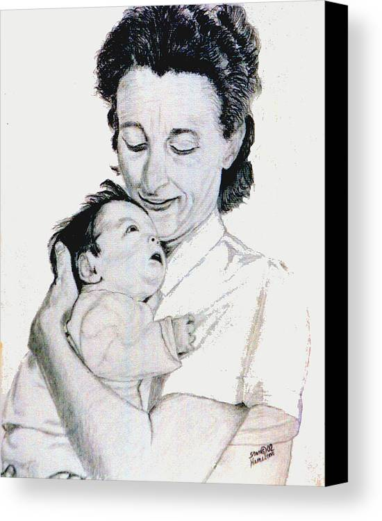 Madona Canvas Print featuring the drawing Madona And Baby by Stan Hamilton