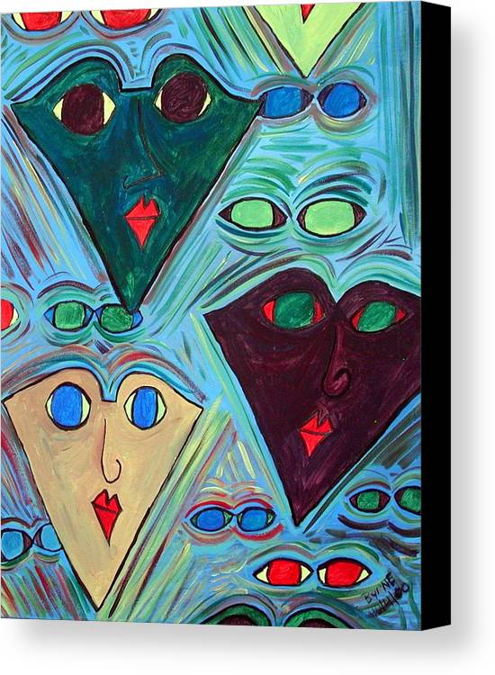 Canvas Print featuring the painting Many Faces Blue by Margie Byrne