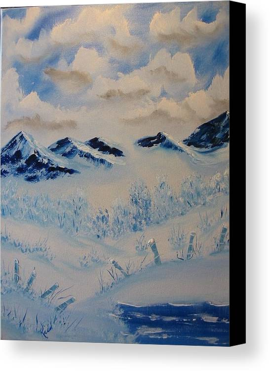 Blue Canvas Print featuring the painting Many Valleys by Laurie Kidd