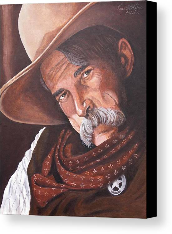 Cowboy Canvas Print featuring the painting Marshall Bill Speaks by Kenneth Kelsoe