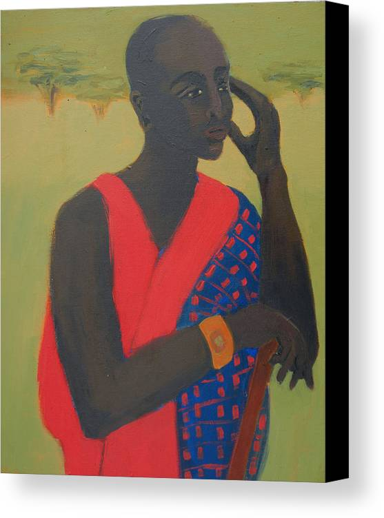 Africa Canvas Print featuring the painting Masaii Warrior by Renee Kahn