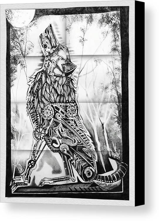 Mechanism Wolf Is Done In Pen And Ink. Canvas Print featuring the drawing Mechanical Wolf by Melissa Young