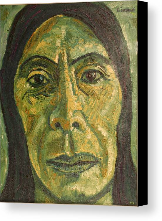 Canvas Print featuring the painting Mexican Woman by Biagio Civale