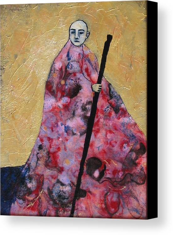 Gold Canvas Print featuring the painting Monk With Walking Stick by Pauline Lim