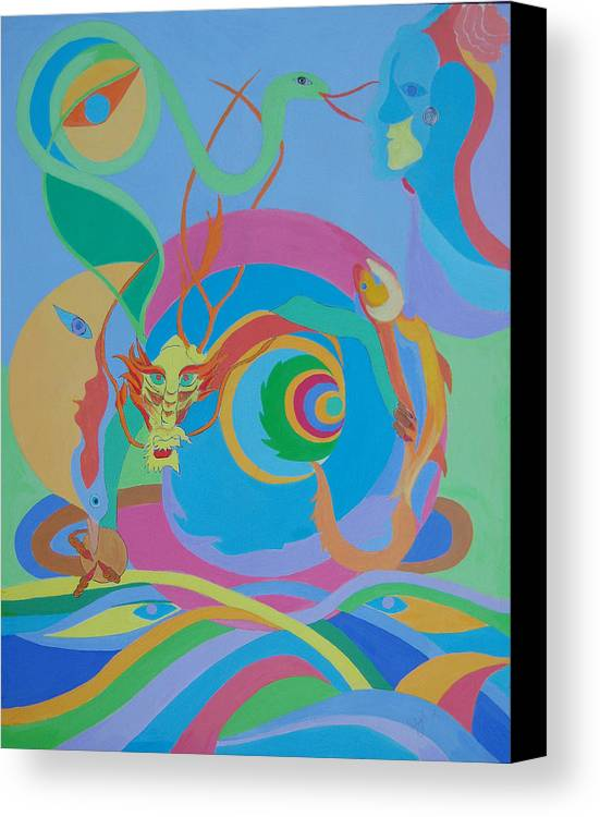 Acrylic Canvas Print featuring the painting Moonbird In A Dragon Spiral by Seema Gill