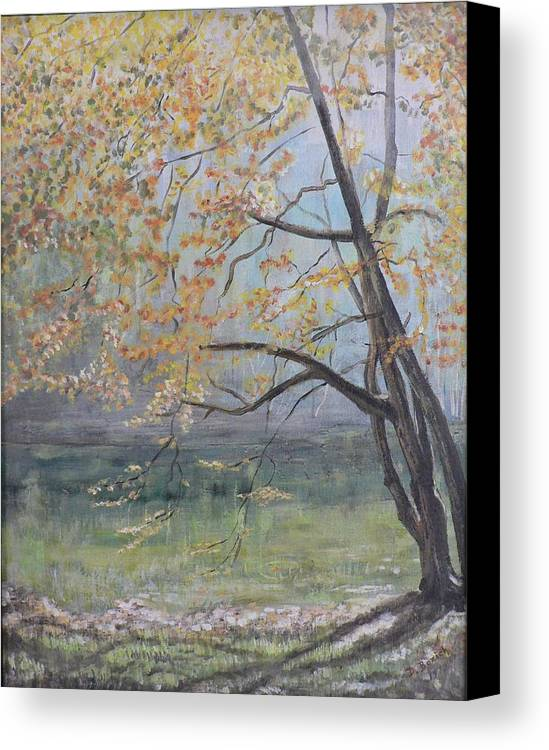 Trees In The Fall Canvas Print featuring the painting Morning Solitude by Dan Bozich