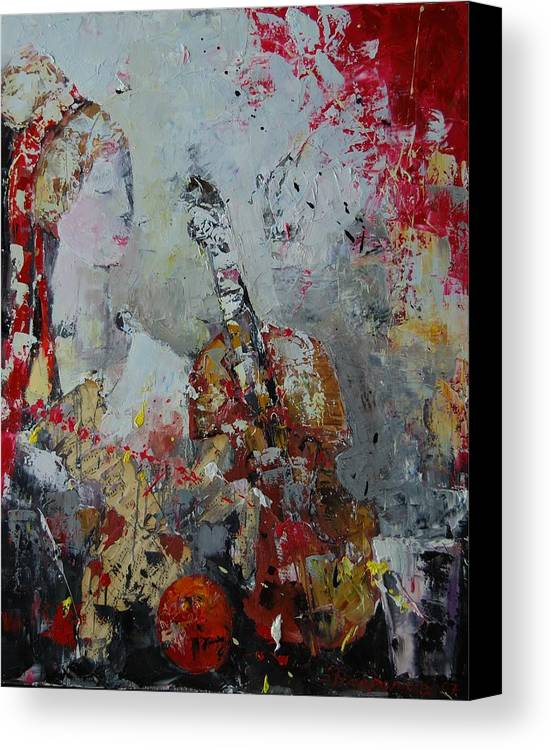 Figurative Canvas Print featuring the painting Musicians Break by Sari Haapaniemi