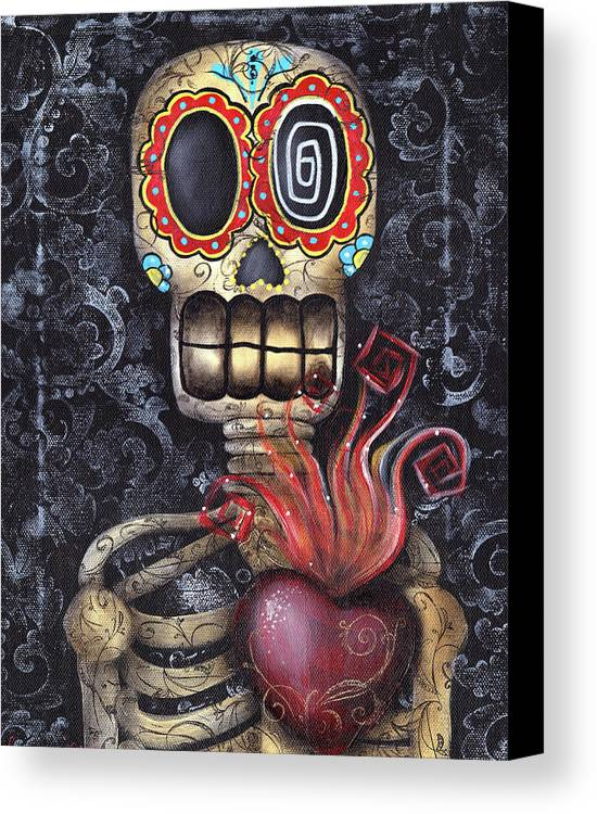 Sacred Heart Canvas Print featuring the painting My Sacred Heart by Abril Andrade Griffith
