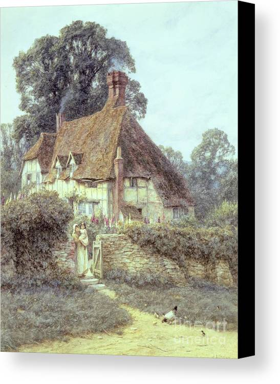 Cottage; Mother And Child; Gate; Rural Scene; Country; Countryside; Home; Path; Garden; Wildflowers; Chicken; Roses; Picturesque; Idyllic; Daughter; Timber Frame; Half-timbered; House; Female Canvas Print featuring the painting Near Witley Surrey by Helen Allingham