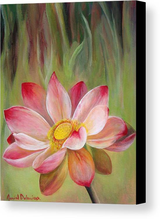 Flower Canvas Print featuring the painting Nenuphar by Muriel Dolemieux