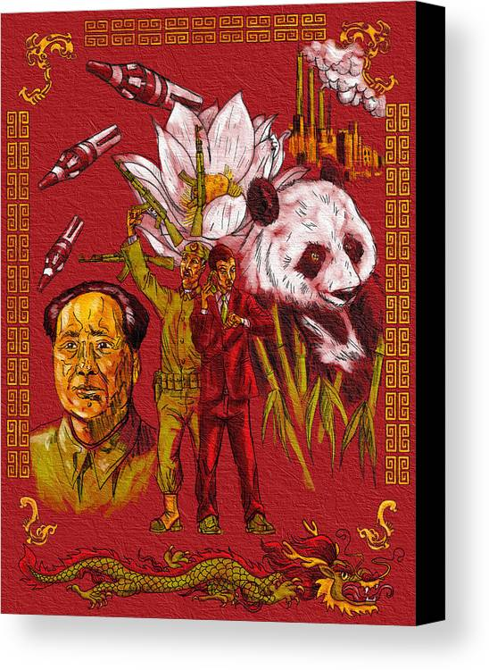 China Panda Missles Factories Dragon Flower Guns Bamboo Canvas Print featuring the painting New China by Baird Hoffmire