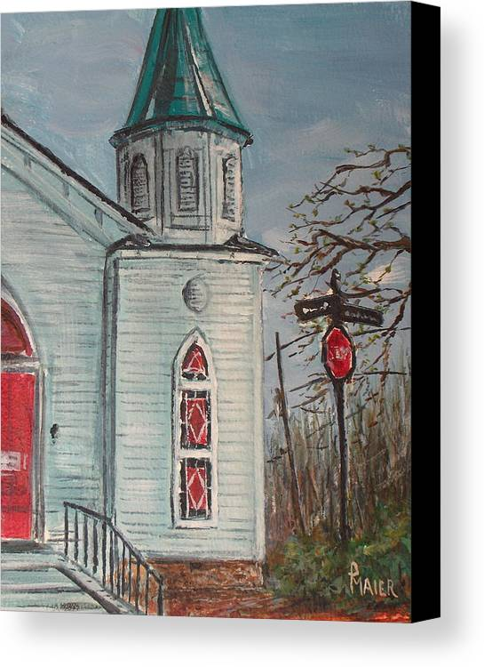 Church Canvas Print featuring the painting Nocross by Pete Maier
