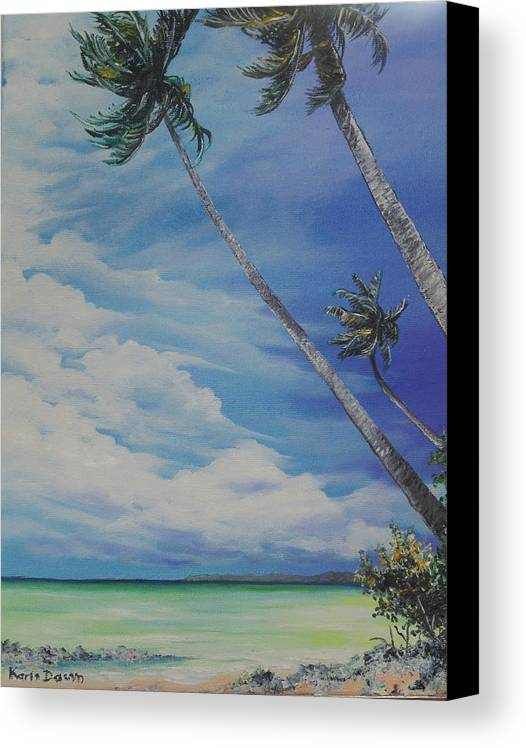Ocean Painting Seascape Painting Beach Painting Palm Tree Painting Clouds Painting Tobago Painting Caribbean Painting Sea Beach T Obago Palm Trees Canvas Print featuring the painting Nylon Pool Tobago. by Karin Dawn Kelshall- Best
