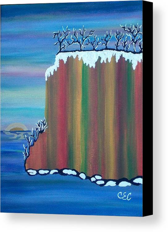 Snow Canvas Print featuring the painting October Snow by Carolyn Cable